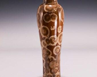 Crystalline Vase in Mink Crystalline Glaze, brown and bronze