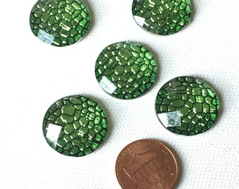 5 Green Bubble Jewels, Flat Back, Cabochons, 20 mm, 3/4 inch, Faceted Jewel, Bow Center, Sewing, Scrapbooking, Decoden