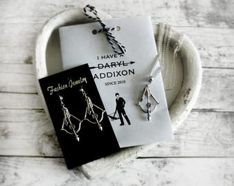 DARYL DIXON - The Walking Dead - Crossbow and Arrow Earrings & Necklace - The Walking Dead Gift - Daryl Dixon Gift - Norman Reedus