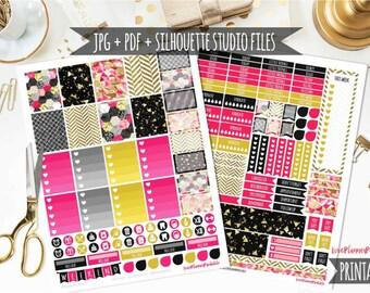 50% MEGA SALE!! Sassy Hot Pink Black Gold Glitter Digital Printable Planner Stickers Weekly Stickers Vertical Digital Planner Stickers