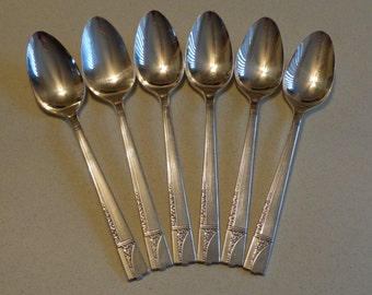 Nobility Plate Caprice Silverplate Flatware 6 Teaspoons - Spoons Silver Plate 4 Crowns 1937