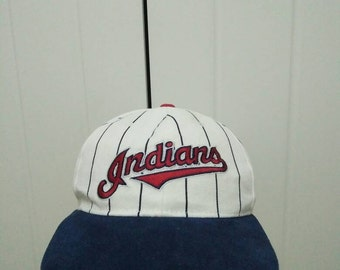Rare Vintage STARTER CLEVELAND INDIANS Spell Out Embroidered Cap Hat Free size fit all