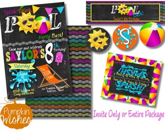 Pool Party Invite/Pool Bash/End of Year Party/Pool Birthday Invitation/Pool Party Package/Swimming Party/Print at home