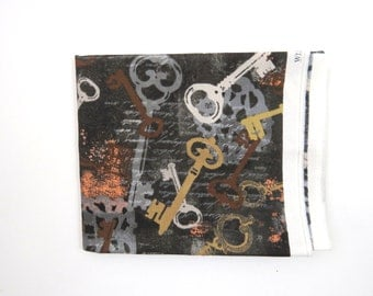 Steampunk Style Antique Keys on Black -  1/4 YARD End of Bolt- Whistler Studios for Windham Fabrics Cotton Fabric - Quilting Fabric