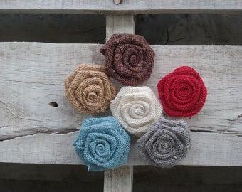 "2"" Burlap Rosettes-set of 20,  Your choice Various Colors Bulk Burlap Roses, Rustic/Shabby Chic/Country Wedding Flowers, DIY Craft Rosettes"