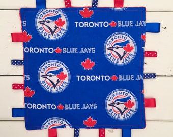 Toronto Blue Jays Tag Blanket, Blue Jays Taggie Blanket, Baby Tag and Crinkle Blanket, Baby Taggie Blanket