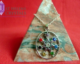 Chakra Wheel of Energy Reiki Healing Crystal Pendant Necklace.