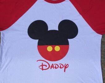 Mickey Mouse head with name raglan, long sleeve shirt, or short sleeve shirt