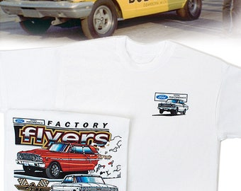Ford Factory Flyers White T-Shirt: HS #020 S/S NHRA Super Stock Drag Racing Thunderbolt Fairlane Galaxy 500 406 427