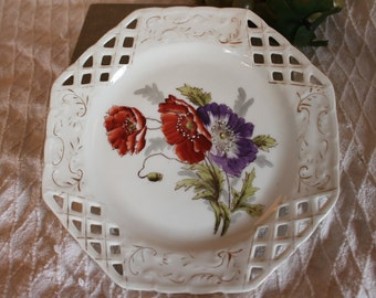 """Antique Hand Painted Porcelain 8.5"""" Luncheon Plate - Octagonal Lattice rim with Hand Painted Poppies"""