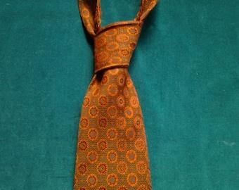 Dark Orange Medallions on Brown Acetate Gentry Tie