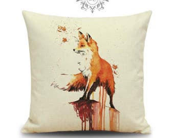 """Fox cushion cover - 18"""" by 18"""" Made To Order - Paint effect design"""