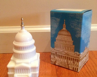 Vintage Avon State Capitol milk glass FULL decanter with box, United States Capitol building
