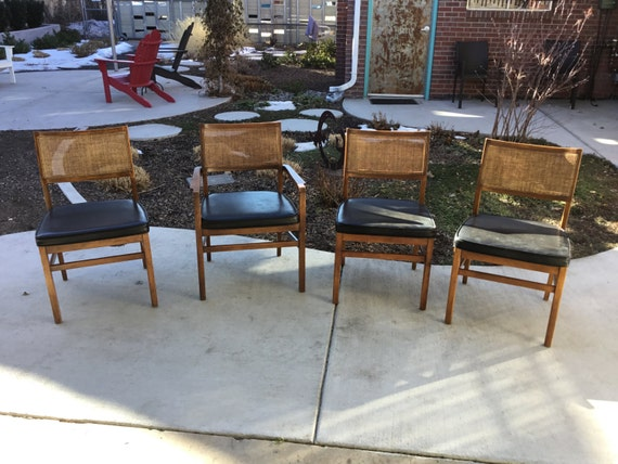4 Lovely Vintage Founders Dining Chairs Newly Replaced Cane/Rush Backs WithVinyl Seats