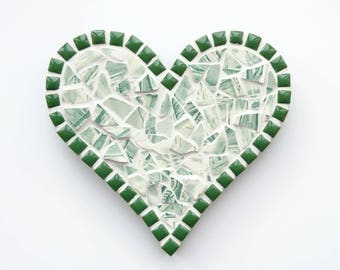 Green mosaic heart, Mosaic heart, Mosaic wall art, Wall hanging, China mosaic heart, Anniversary present, Gift for her, Birthday present