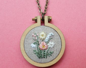 Floral Mini Hoop Necklace. Hand Embroidery. Jewelry. Flower Embroidery. Wearable Art. Pendant. Gift for Her. Hoop Art. Flower Charm.