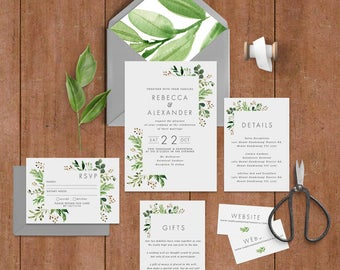 "Printable Wedding Invitation Suite ""Loche"" - Printable DIY Invite, Affordable Wedding Invitation"