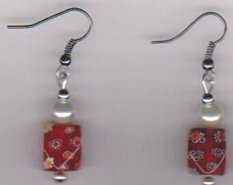Cherries Jubilee Millefiori Pierced Earrings