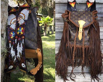 VINTAGE SWAG Fringed Vintage Louis Vuitton Montsouris GM Backpack