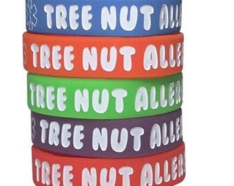 Tree Nut Allergy Bracelet Kids Rubber Silicone Waterproof Assorted Colors Pack of 5