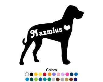 Great Dane Sticker Natural Ears Personalized Decal Great Dane Decal Custom Pets Name Outdoor Vinyl Dane Gift Dane Art Name Decal D1024