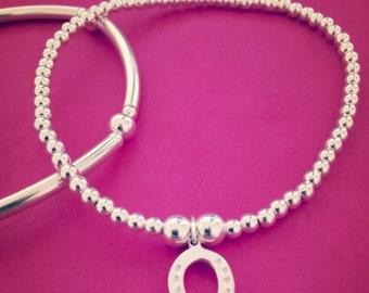 Sterling Silver Horseshoe Charm Bracelet