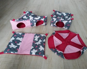 SET FOR FERRETS, love with the mouse, large hammocks, hearts, valentine's day, mice, square house, double hammock, corner hut