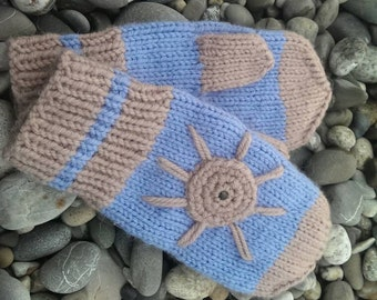 Mittens. Knitted mittens. Blue mittens. Mittens for girl. Mittens for woman. Mittens with Sun. Warm mittens. Soft mittens.