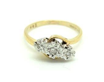 Vintage Diamond Ring | Ring Size 7 | Engagement Diamond Ring | 1980s Ring | 9ct Gold | Gold Ring | Diamond Ring | Diamond Gold Ring