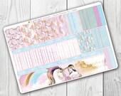 Unicorn Princess Washi , Planner Stickers, Erin Condren Vertical, ECLP