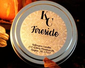 Keffington Candles - Fireside Candle 6oz Tin - Patchouli, Clove, Sandalwood, Amber Fragrance