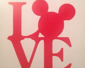 Mickey head love glass/mug decal vinyl