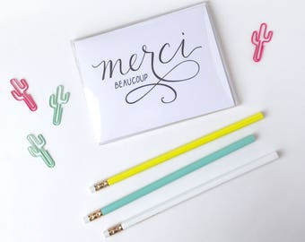 Set of 6-- Merci Beaucoup Hand Lettered Card