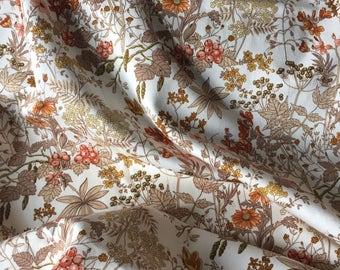 "Pair of Fabulous Vintage 1970's Pencil Pleat Cotton Curtains in an 'Autumn' Pattern W44"" D76"""