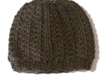 Crochet Hat Pattern, and Messy Bun Hat Pattern - CROCHET - Alden Cap Beanie and Bun Hat