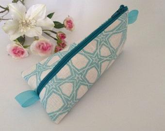 Pencil case, Make up purse, gift for her, organiser, pouch. Zipper purse