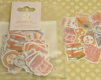 "Kamio Japan ""RETRO GIRL"" 70 Sticker Flakes in 10 designs/ sticker flake lot, kawaii stickers flakes/ Frost Seal/ books, suitcase, music"