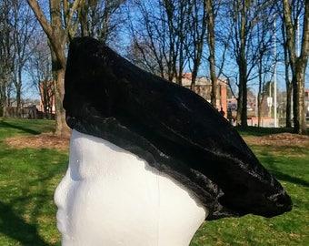 Woman's beret, Black Velvet Handmade Hat ready to ship fully lined