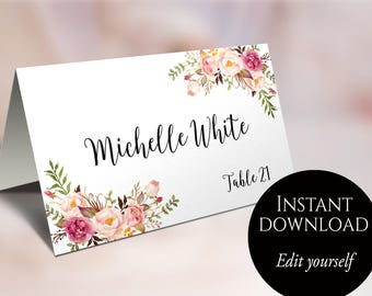 Wedding Place Cards, Place Card Template, Editable, Reserved Seating Cards, Folded Name Cards, Floral Place Cards, Tent Cards, Food Cards