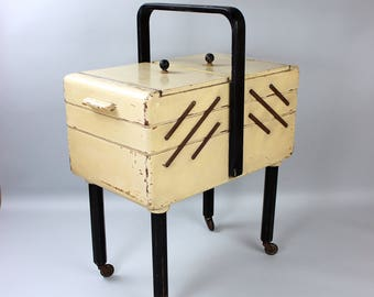 Large vintage sewing box, sewing Cabinet, sewing box, sewing table, accordion sewing box, 50s 60s