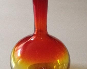 Mid-Century Amberina Art Glass Vase
