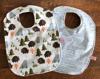 Baby Bibs- Bears- Forest- Camping- Baby Girl-Baby Boy- Baby Gift