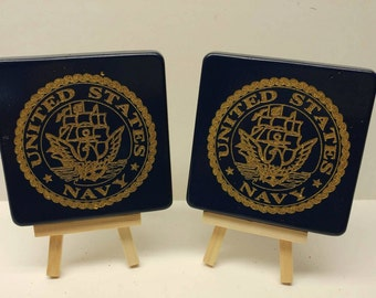 U.S. Navy Insignia Laser Etch Coasters