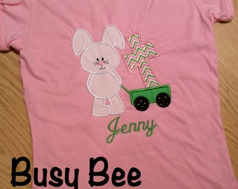 Appliqued Easter Bunny Pulling a Wagon with a Cross Shirt or Onesie