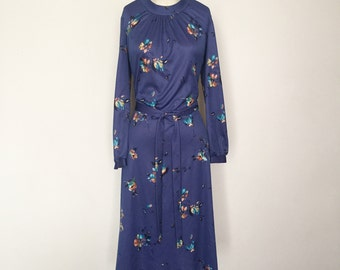 Stunning Vintage 1960's Indigo Blue Violet Sears Fashions Silky Polyester Longsleeve Dress with Matching Belt - OSV0043