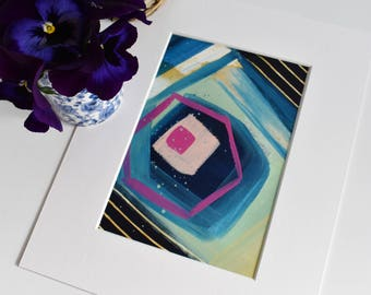 Marrakech. Small Abstract Painting. Original. Modern Art. Contemporary Acrylic Painting. Blue, Green, Pink. Canvas Wall Art. Home Decor.