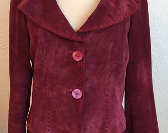 Raspberry Soft Suede Danier Jacket with Top Stitching & Ruffle Detail.  Size M