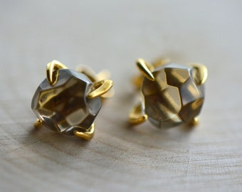 Real Smokey Quartz Chunk Earrings in 24K Gold Plated Claw Setting - Earring Studs Gem Gemstone Jewelry