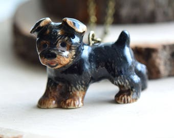 Hand Painted Porcelain Yorkshire Terrier Yorkie Dog Necklace, Antique Bronze Chain, Vintage Style, Ceramic Animal Pendant & Chain (CA070)