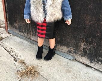 Girls pencil skirt, buffalo plaid, faux leather